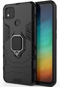 Ударопрочный чехол Transformer Ring для Xiaomi Redmi 9c (Черный)