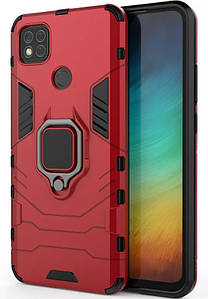Ударопрочный чехол Transformer Ring для Xiaomi Redmi 9c (Красный)