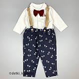 Комплект рубашка, штаны, подтяжки, бабочка для мальчика Синий Hippil Турция 68 (р), фото 2