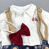 Комплект рубашка, штаны, подтяжки, бабочка для мальчика Синий Hippil Турция 68 (р), фото 4