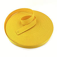 Стрічка, тісьма для сумок, рюкзаків 25 мм - 50 м стропа ремінна поліпропіленова (жовта)