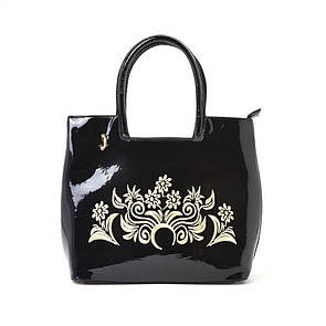 Женская сумка 8520-2 черная лак