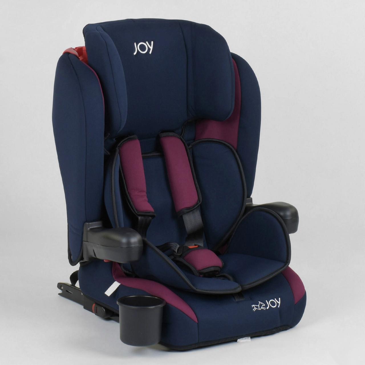 Детское автокресло JOY 72583 Темно-синий с бордовым, система ISOFIX, группа 1/2/3, от 9-36 кг