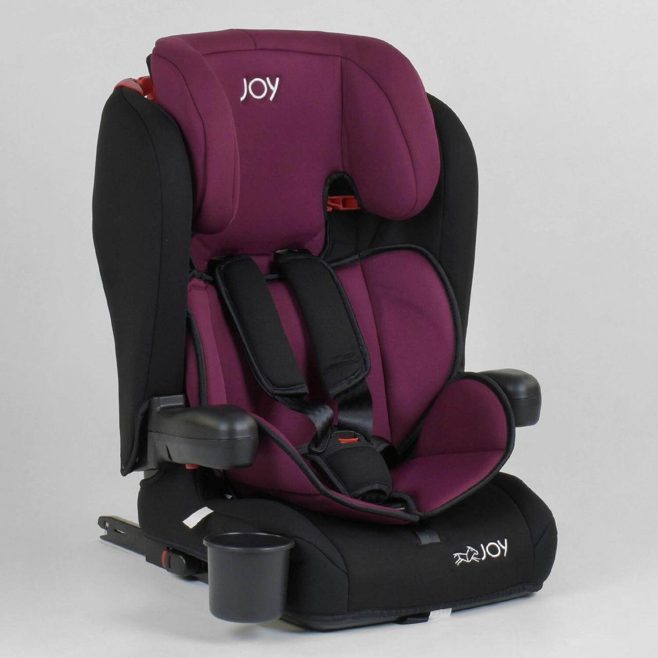 Автокрісло дитяче універсальне JOY 73180 Чорний з бордовим, система ISOFIX, група 1/2/3, від 9-36 кг