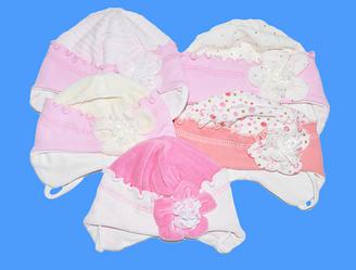 Шапка комбинированная (велюр с трикотажем) , на подкладке ,  для новорожденных девочек (р.36-38-40)