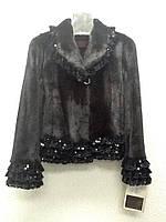 Шуба из норки короткая Black Glama с кружевами, фото 1