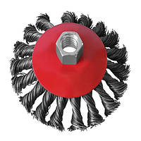 Щетка конусная 100 мм, для УШМ, М14 (пучки витой проволоки) INTERTOOL
