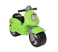 Скутер толокар с двумя большими колесами 502 ORION аналог уменьшенной взрослой модели, цвет салатовый