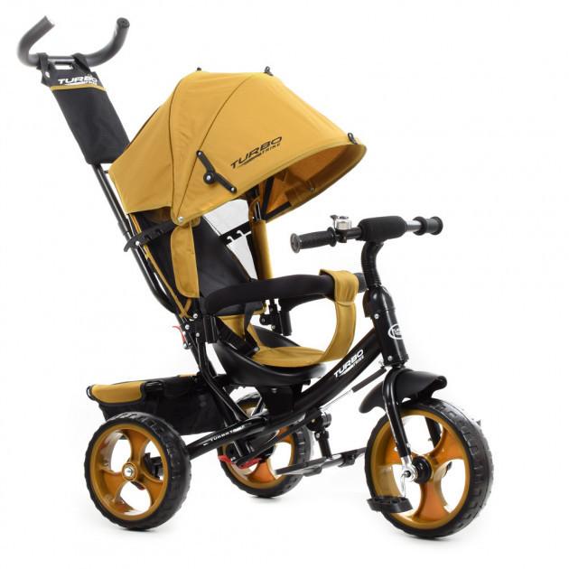 Дитячий 3-х колісний велосипед з батьківською ручкою і капюшоном TURBOTRIKE M 3113-24L, Бежевий