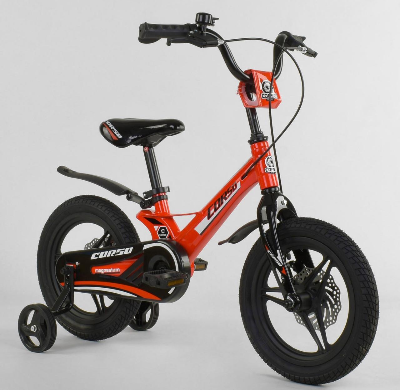 """Детский двухколёсный велосипед 14"""" с магниевой рамой литыми дисками дисковые тормоза Corso MG-66936 красный"""