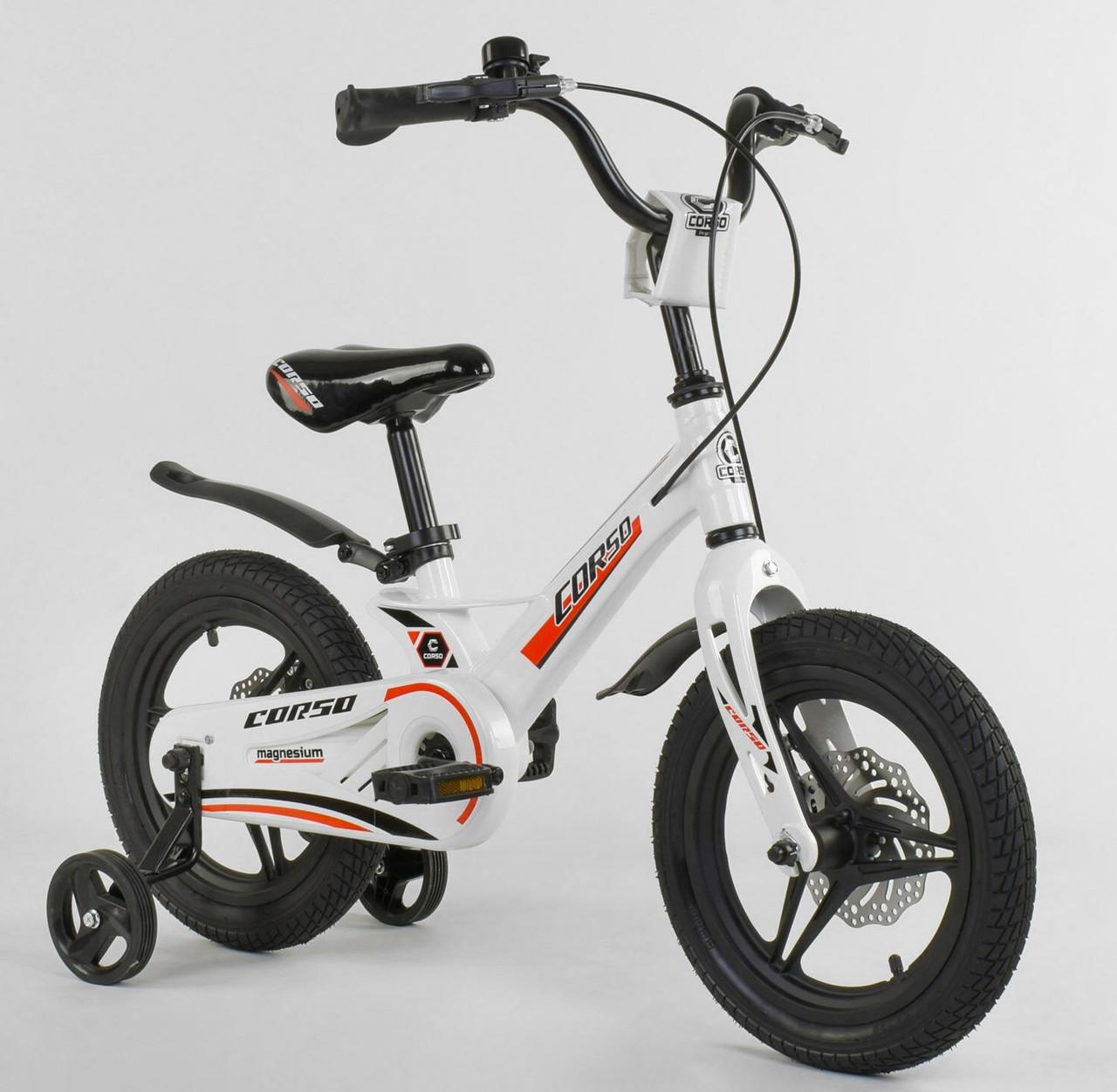 """Детский двухколёсный велосипед 14"""" с магниевой рамой литыми дисками дисковые тормоза Corso MG-62111 белый"""