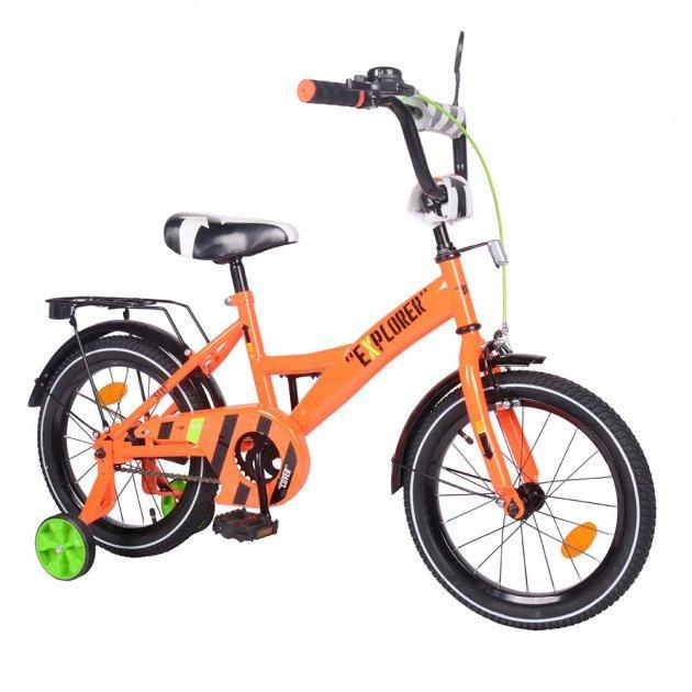 """Двухколесный велосипед для детей с надувными и съёмными страховочными колесами 16"""" EXPLORER T-216113"""