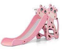 """Горка для деток от 2 до 5 лет Розовый Жираф, с баскетбольным кольцом, бортом D - 20299 """"Toti"""" (высота 105 см)"""