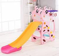 """Детская пластиковая горка Розовый Жираф для установки на улице, игровых центрах F - 58901 """"Toti"""" высота 102 см"""