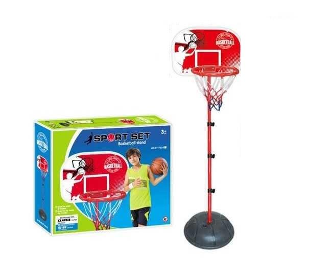Детское баскетбольное кольцо на стойке MY 1703 B (высота 120-150 см) с щитом и сеткой в комплекте насос