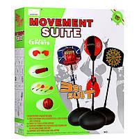 Игровой набор 3в1 баскетбол, дартс, бокс ChengXing MR 0091 на стойке, мяч, перчатки, насос