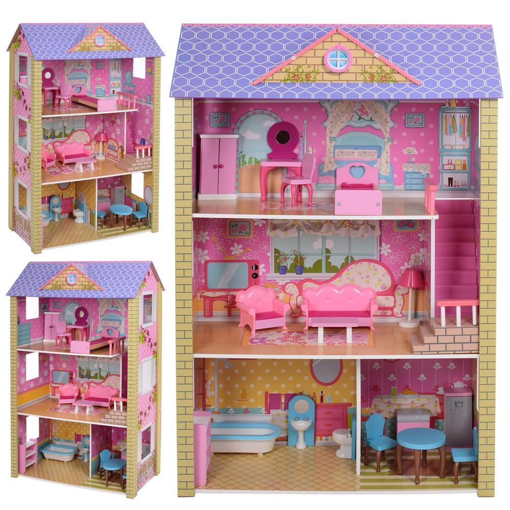 Ігровий дерев'яний будиночок для ляльок MD 2009, 3 поверхи, меблі