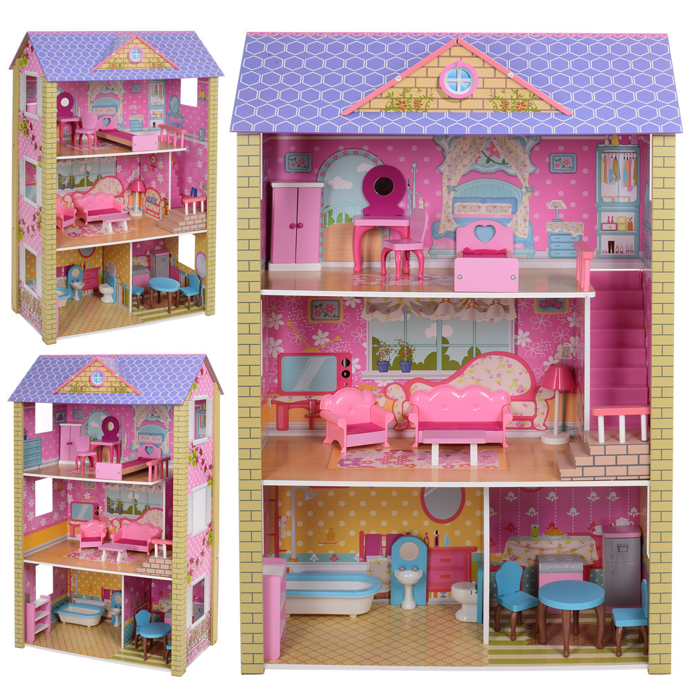 Игровой деревянный домик для кукол MD 2009, 3 этажа, мебель