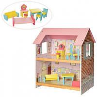 Дитячий, ігровий, двоповерховий, дерев'яний будиночок для ляльки з меблями MD 2048, фото 1