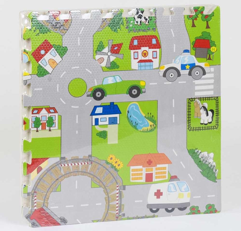 """Коврик-пазл для малышей """"Город"""" EVA С 36568, с массажным эффектом (4 элемента в упаковке)"""