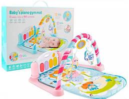 Розвиваючий музичний килимок для немовляти Bambi 9913A з MP3, мікрофоном і пультом рожевий