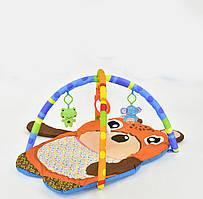 Розвиваючий килимок з дугами музичний D 117 світловим ефектом підвісними іграшками у вигляді ведмедика