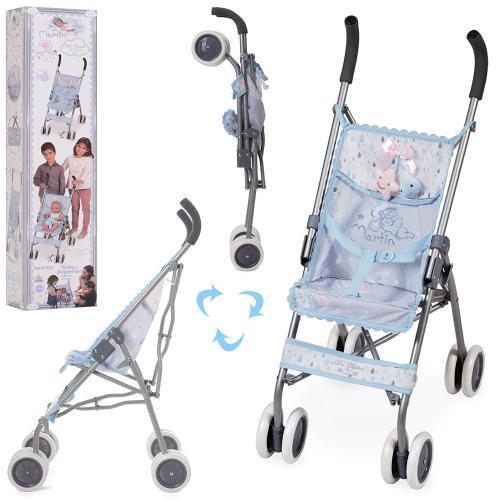 Іграшкова, складна коляска-тростина для ляльок з металевим каркасом 90129, блакитна