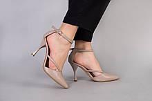 Босоножки женские кожаные бежевые с закрытыми носком и пяткой