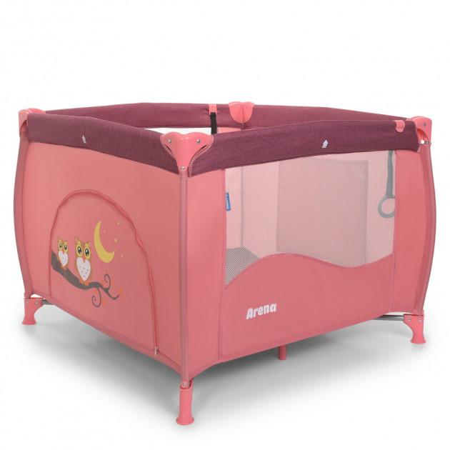 Манеж для малюків з дверцятами на змійці, кільцями і кишенькою El Camino ME 1030 ARENA Rose Len, Рожевий льон