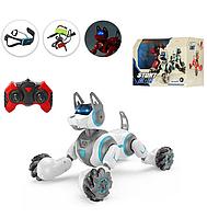 Интерактивная робот-собака на радиоуправлении с браслета и пульта Stunt Dog 666-800A белая