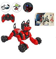 Многофункциональная интерактивная робот-собака для ребенка 666-800A на радиоуправлении от браслета Красный