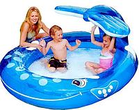 Детский надувной бассейн Intex 57435 «Веселый Кит» с фонтаном, (размер 208 х 163 см) (объем 208 л), фото 1
