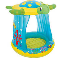 Ігровий надувний центр для дітей з дахом Bestway 52219 Черепашка (розмір 109-96-104 см), фото 1