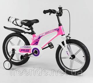 """Дитячий велосипед 16"""" CORSO"""" магнієва рама, ручного гальма, доп. колеса, дзвінок, пляшка рожевий"""