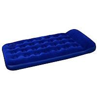 Велюровий матрац Bestway 67224 синій 188-99-22 см з вбудованим ножним насосом, фото 1