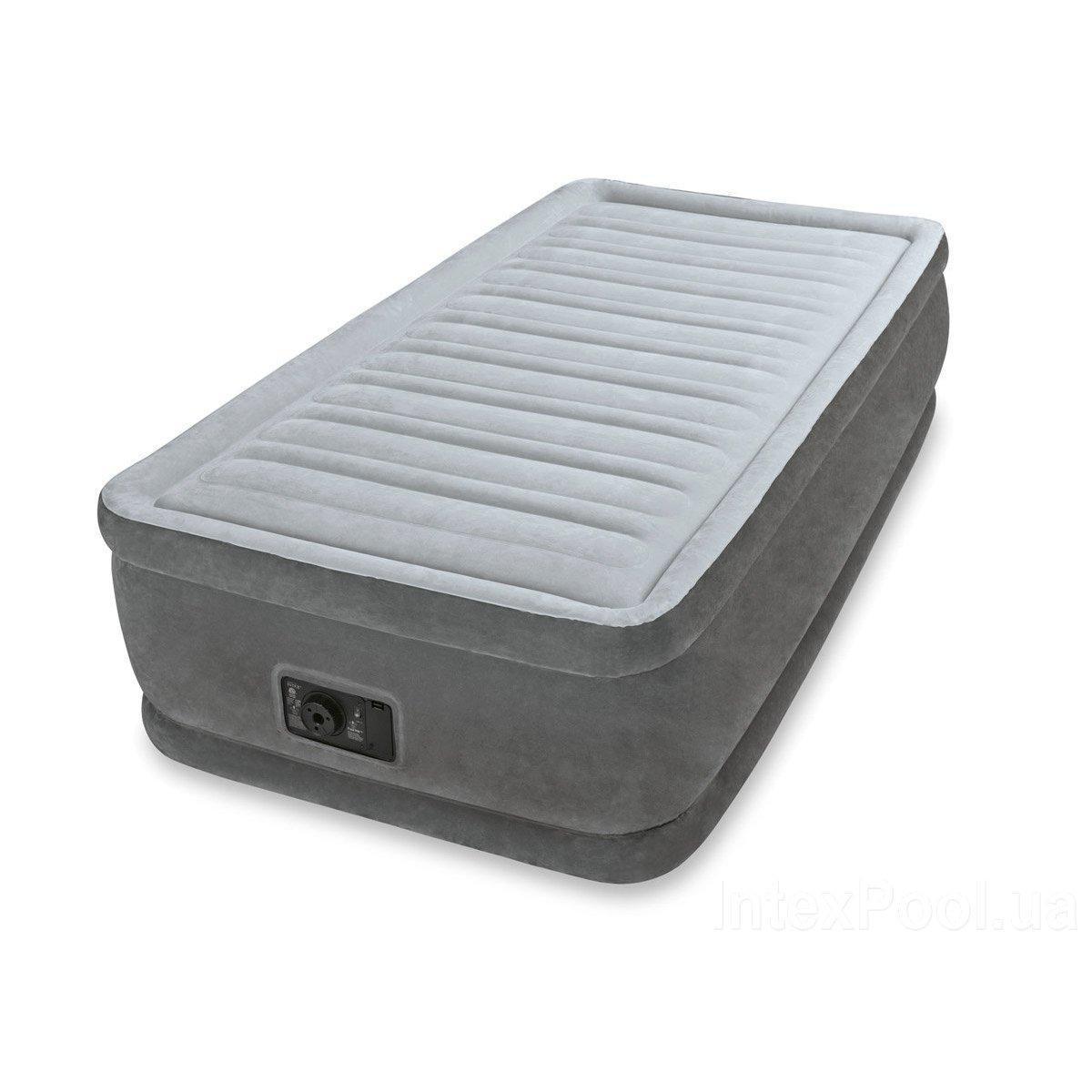 Надувная кровать односпальная со встроенным электронасосом Intex 64412, 99*191*46 см
