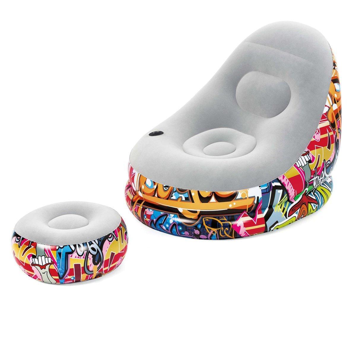 Надувне крісло велюрове з пуфом і підсклянником Bestway 75076, (121х100х86 см), графіті