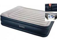 Надувная кровать двуспальная велюровая Intex 64136 с электронасосом 220V (152*203*42 см), фото 1