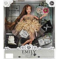 Шарнірна лялька Emily в пишній сукні з пір'ям, з довгим темним волоссям і вихованцем QJ 090 D