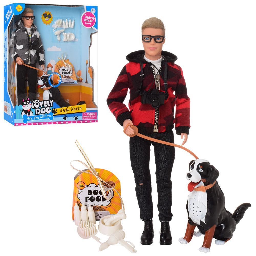 Лялька DEFA 8429 Кевін з вихованцем-собакою зі звуковими ефектами і аксесуарами, (2 види) (висота 30 см)