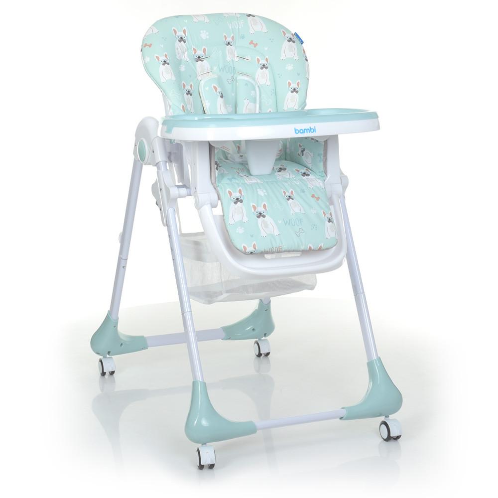 Дитячий стільчик для годування на коліщатках зі знімним столиком і чохлом Bambi M 3233 Puppy Boy Blue,