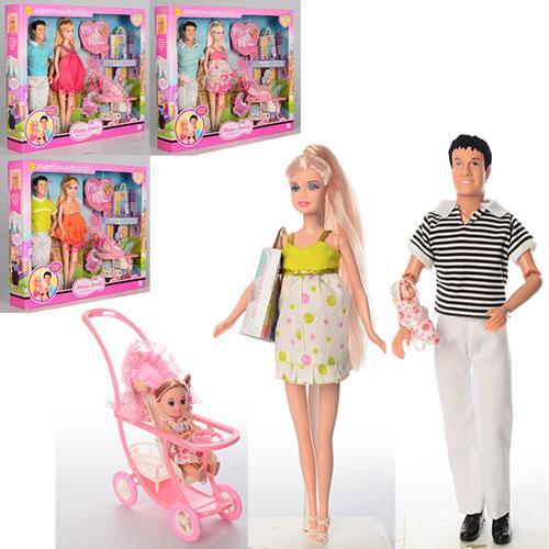Игровой набор кукол Дефа, семья 8088, с новорожденным малышом, дочкой, коляской и аксессуарами (4 вида)