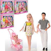Игровой набор кукол Дефа, семья 8088, с новорожденным малышом, дочкой, коляской и аксессуарами (4 вида), фото 1