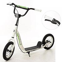 Детский самокат для малыша ITrike 2-043-1-W с резиновыми колесами и ручным тормозом Белый