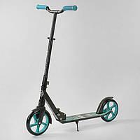 """Складной детский самокат Best Scooter """"WOLF"""" 49733, колеса PU, амортизатор, черный с голубым, фото 1"""