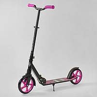 """Двухколесный самокат Best Scooter """"WOLF"""" 37098, амортизатор, колеса PU ножной тормоз, черный с розовым, фото 1"""