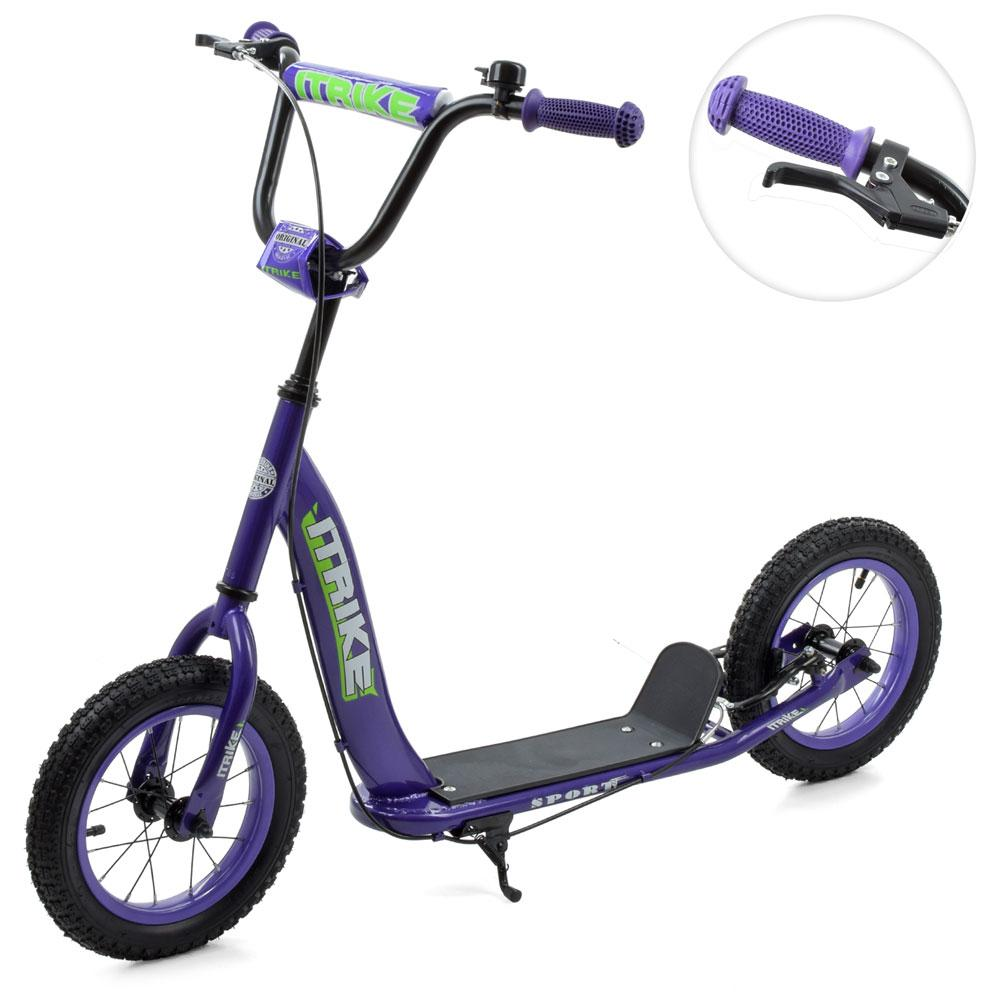Самокат для дитини з колесами діаметром 12 дюймів, ручним гальмом і підніжкою SR 2-043-1-V, фіолетовий