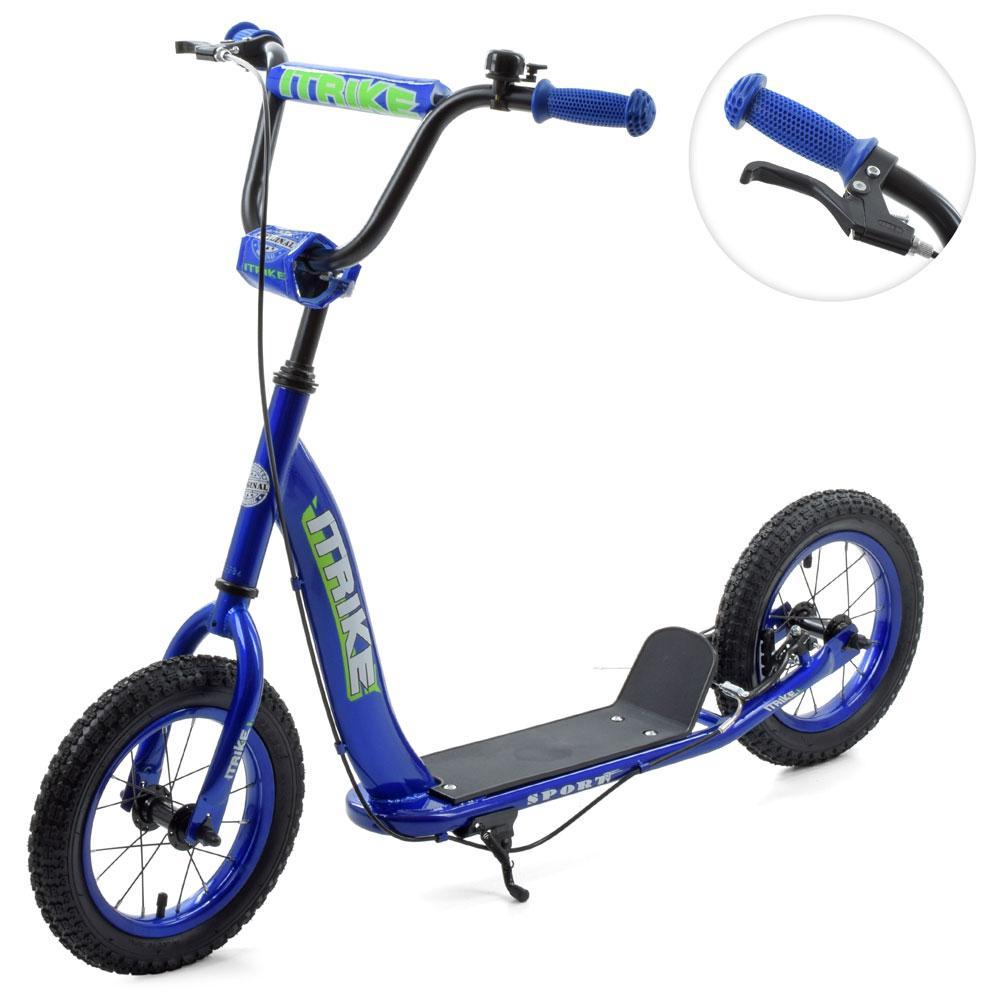 """Самокат для школьника с колесами диаметром 12"""", накладками на руле и подножкой SR 2-043-1-BL, синий"""