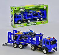 Інерційний автовоз-трейлер з двома квадроциклами для хлопчика з звуком і світлом, працює від батарейок 1188-43