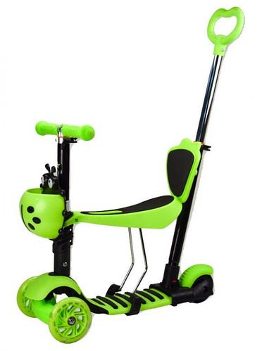 Самокат з сидінням і батьківською ручкою 5 в 1 універсальний SC17099, світяться колеса, колір зелений